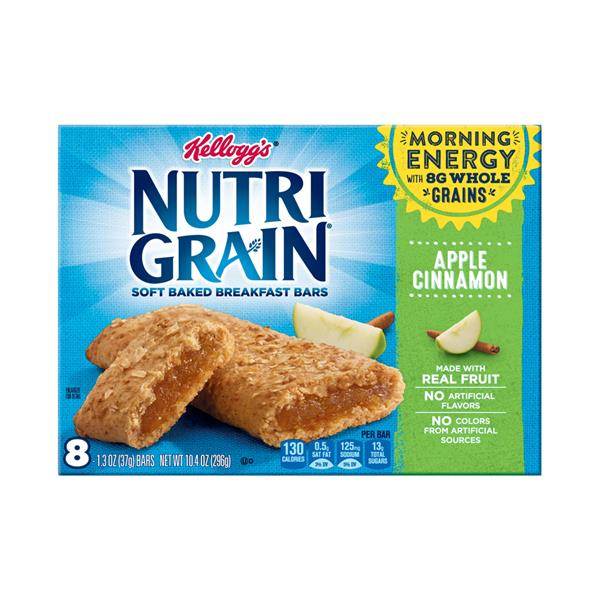 Kellogg&#39s Nutri Grain Soft Baked Apple Cinnamon Breakfast Bars 8-1.3 oz Bars