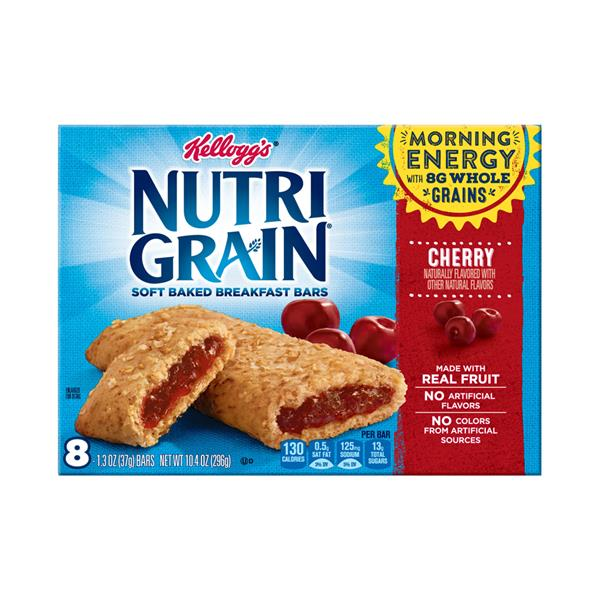 Kellogg&#39s Nutri Grain Soft Baked Cherry Breakfast Bars 8-1.3 oz Bars