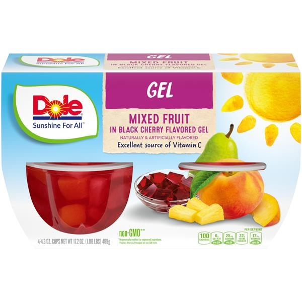 Dole Mixed Fruit In Black Cherry Gel 4-4.3 oz Cups