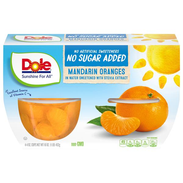Dole No Sugar Added Mandarin Oranges 4-4 oz Cups