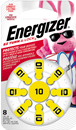 Energizer EZ Turn & Lock Size 10, 8 Pack, Yellow