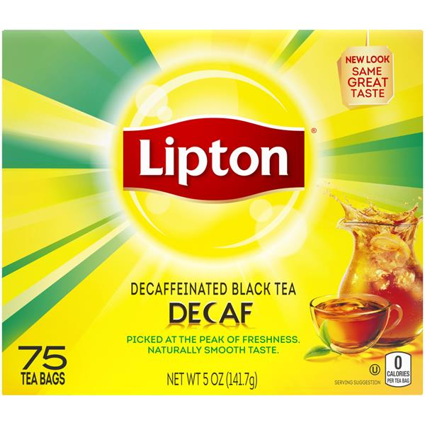 Lipton 100% Real Tea Leaves Decaffeinated Tea - 75Ct Bags