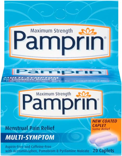 Pamprin Maximum Strength Caplets Perspective Front Source Multi Symptom Menstrual Pain Relief