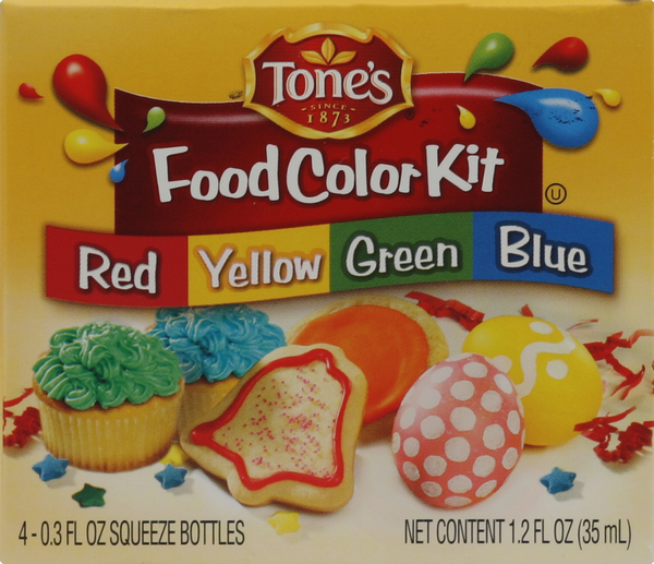 Tone's Red/Yellow/Green/Blue Food Color Kit, 4-0.3 fl oz Squeeze Bottles