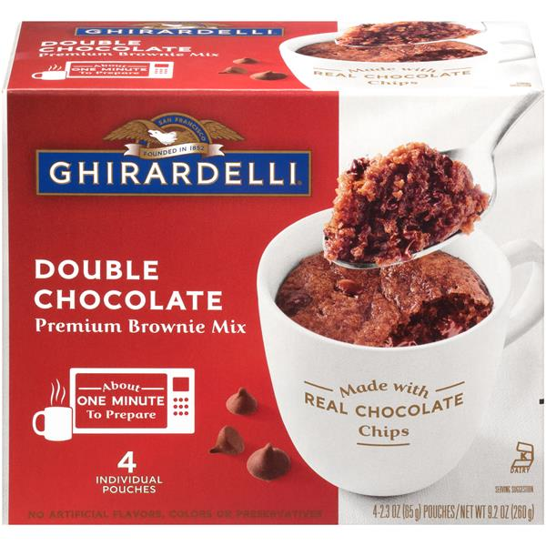 Ghirardelli Double Chocolate Premium Brownie Mug Mix 4-2.3 oz Pouches