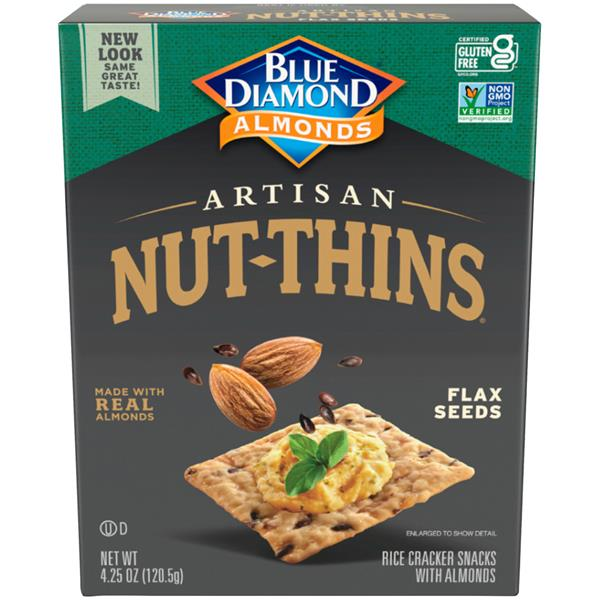 Blue Diamond Artisan Nut-Thins Brown Rice, Almonds & Flax Seeds Cracker Snacks