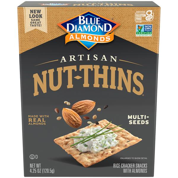 Blue Diamond Artisan Nut-Thins Brown Rice, Almonds & Multi-Seeds Cracker Snacks