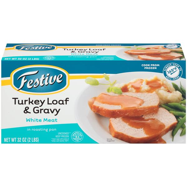 Festive White Meat Turkey Loaf & Gravy in Roasting Pan