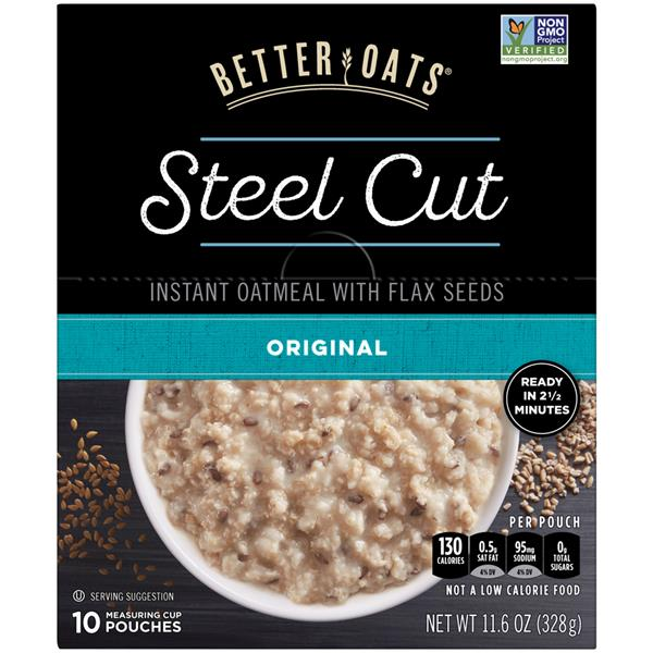 Better Oats Steel Cut Original Instant Oatmeal with Flaxseeds 10 Pouches