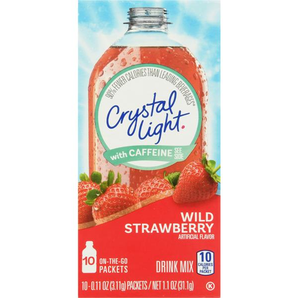 Crystal Light with Caffeine Wild Strawberry On the Go Drink Mix 10Ct