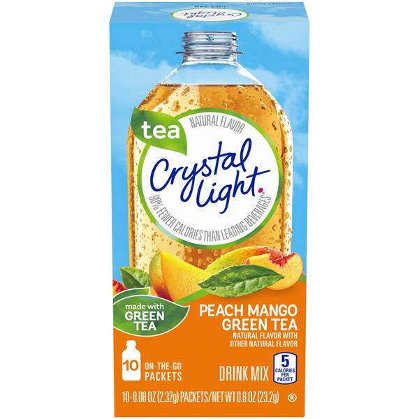 Crystal Light Peach-Mango Green Tea On-the-Go Drink Mix, 10-0.08 oz Packets
