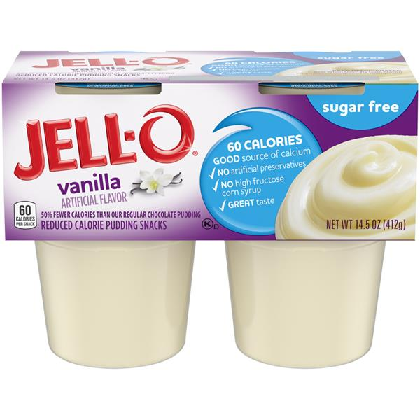 Jell-O Sugar Free Vanilla Reduced Calorie Pudding Snacks 4Pk