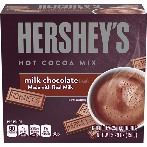 Hershey's Milk Chocolate Hot Cocoa Mix 6 ct Pouches