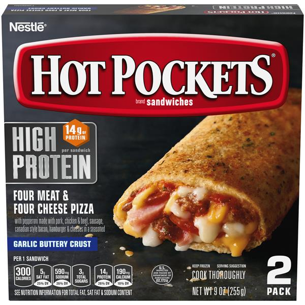 Hot Pockets Frozen Sandwiches Four Meat & Four Cheese Pizza 2Pk