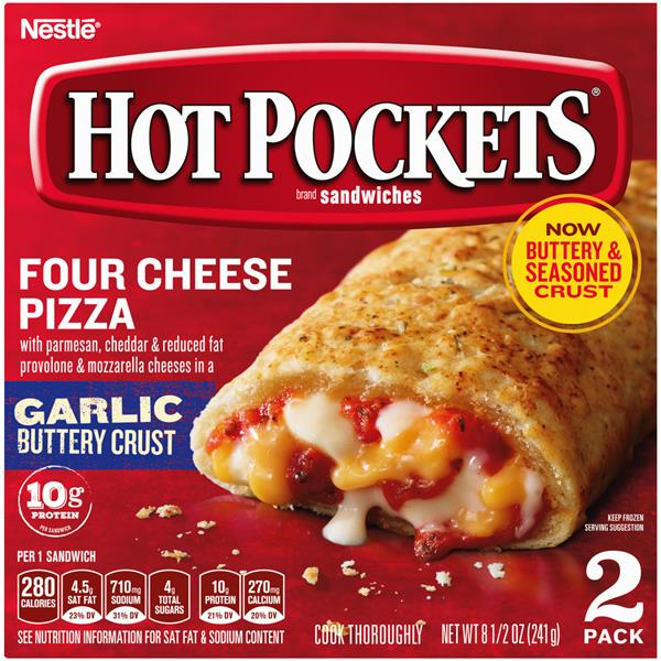 Hot Pockets Frozen Sandwiches Four Cheese Pizza 2Pk