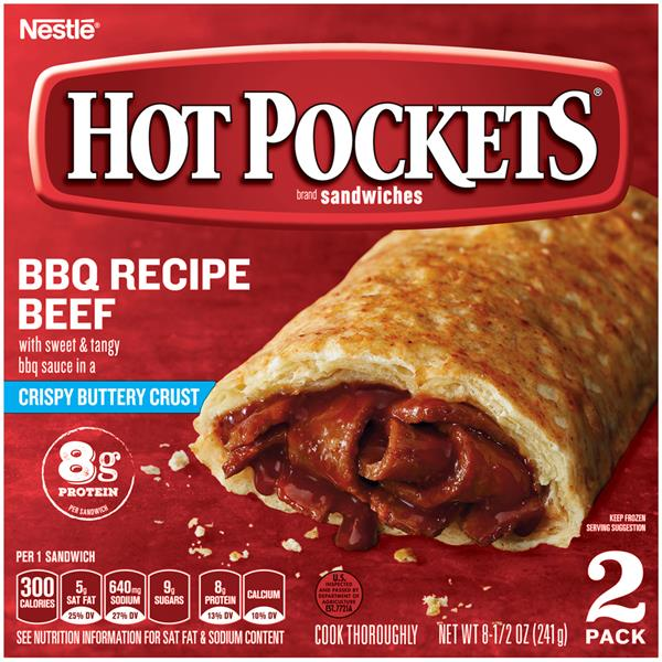 Hot Pockets Frozen Sandwiches Bbq Recipe Beef 2Pk