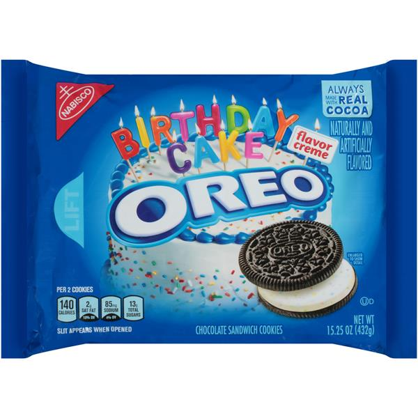 Nabisco Oreo Birthday Cake Flavor Creme Chocolate Sandwich