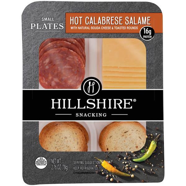 Hillshire Snacking Small Plates Hot Calabrese Salame with Natural Gouda Cheese & Toasted Rounds