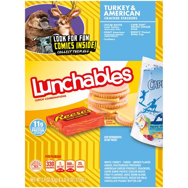Lunchables Turkey American Cracker Stackers Lunch  bination With Capri Sun Pacific Cooler Drink on oscar mayer lunchables pepperoni pizza