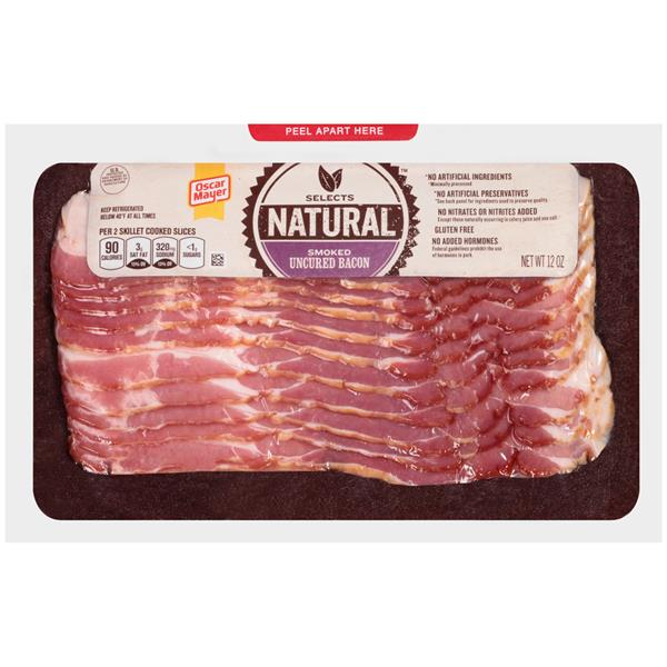 Oscar Mayer Selects Smoked Uncured Bacon 12 Oz Pack on oscar mayer selects nutrition