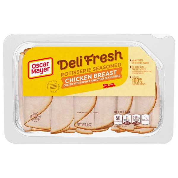 Oscar Mayer Deli Fresh Rotisserie Seasoned Chicken Breast Lunch Meat on oscar mayer deli fresh turkey nutrition facts