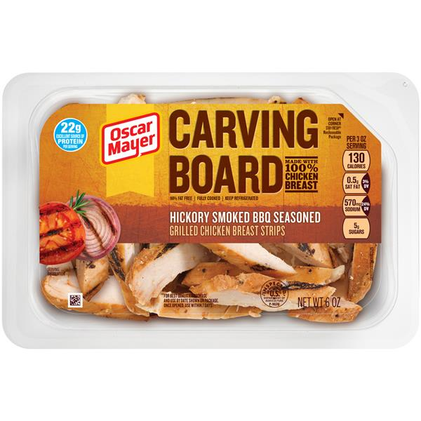Oscar Mayer Carving Board Hickory Smoked BBQ Seasoned Grilled Chicken Breast Strips on oscar mayer nutrition