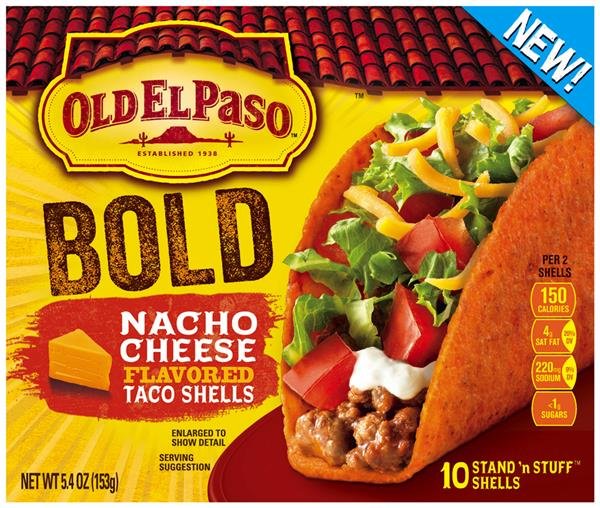 Old El Paso Stand 'n Stuff Bold Nacho Cheese Flavored Taco Shells 10Ct