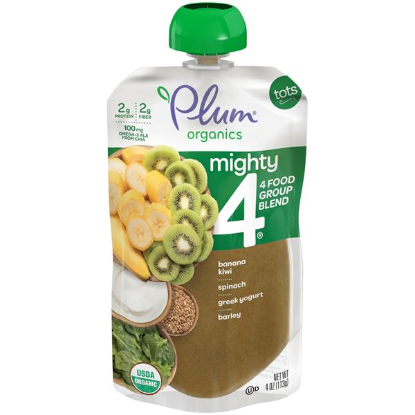 Plum Organics Tots Mighty 4 Spinach Kiwi Barley & Greek Yogurt Essential Nutrition Blend