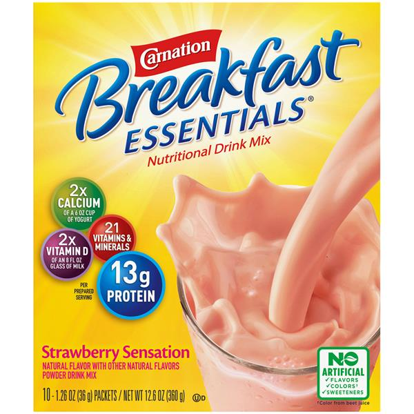 Carnation Breakfast Essentials Strawberry Sensation Complete Nutritional Drink 10Ct Packets