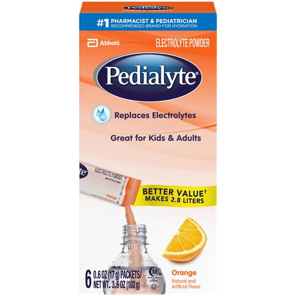 Pedialyte Orange Electrolyte Powder 6 Count