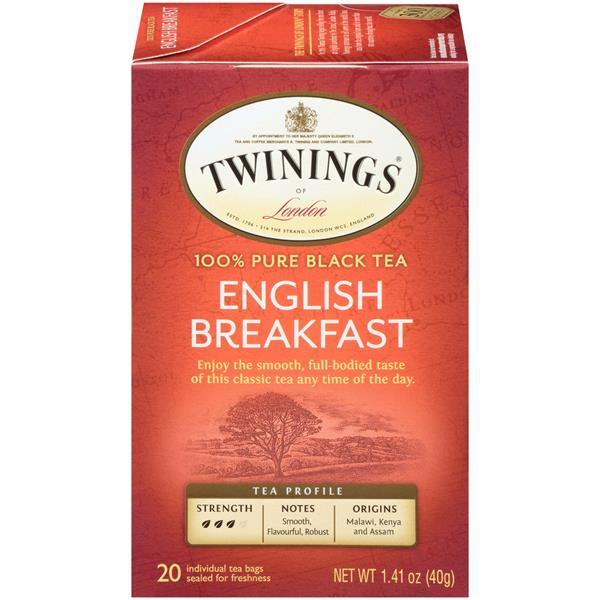 Twinings of London English Breakfast Black Tea Bags 20Ct