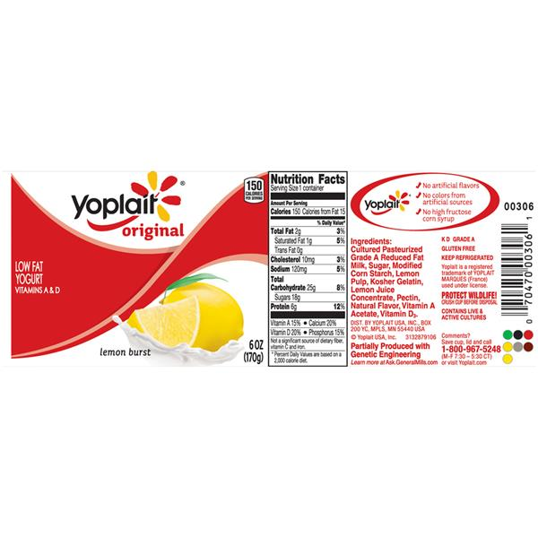 Yoplait Original Lemon Burst Low Fat Yogurt