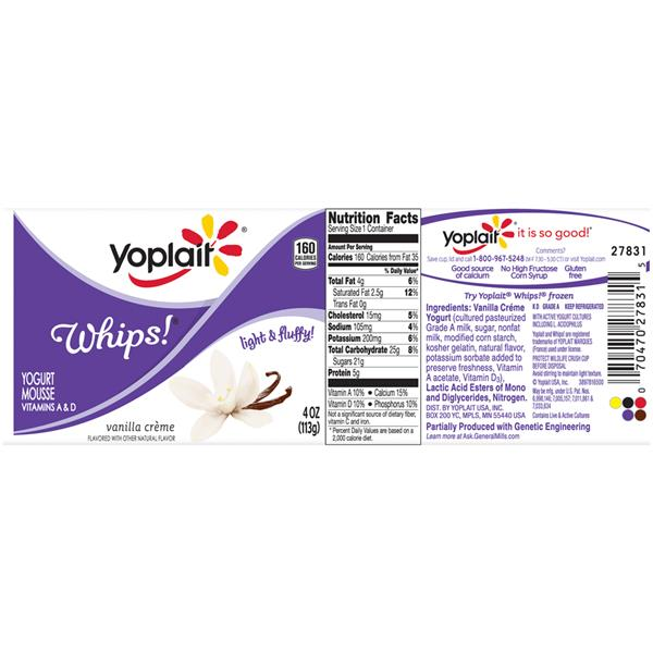 Yoplait Whips! Vanilla Creme Yogurt