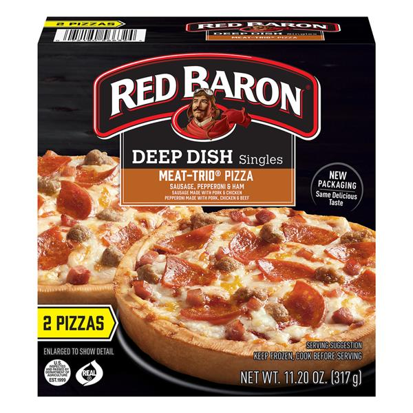 Red Baron Pizza, Deep Dish Singles Meat Trio, 2 Count