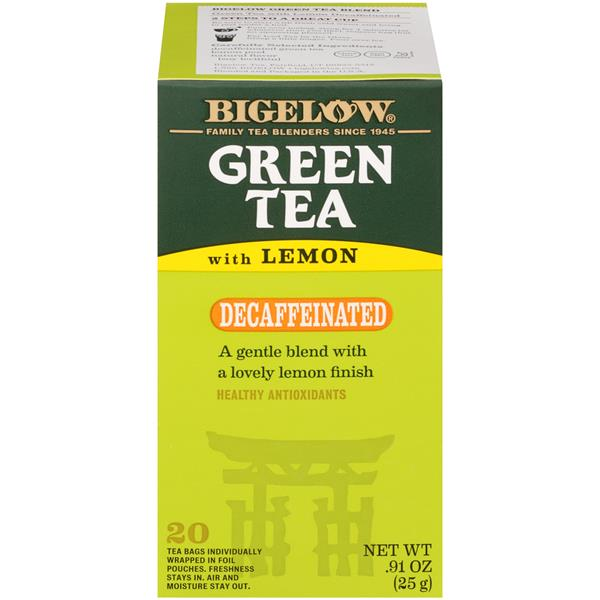 Bigelow Green Tea with Lemon Decaffeinated Tea Bags 20 Count