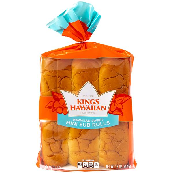 King's Hawaiian Original Hawaiian Sweet Sub Rolls 6 ct