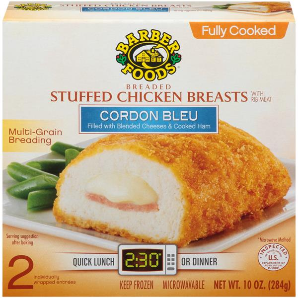 Barber Foods Cordon Bleu Breaded Fully Cooked Stuffed ...