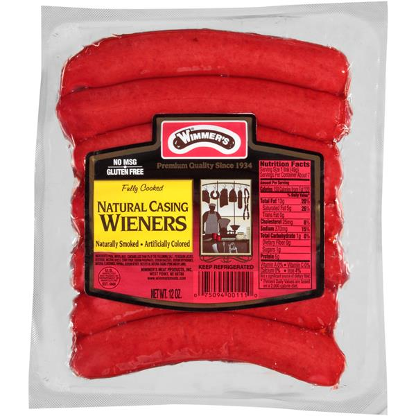 Wimmer's Natural Casing Naturally Smoked Wieners 7Ct