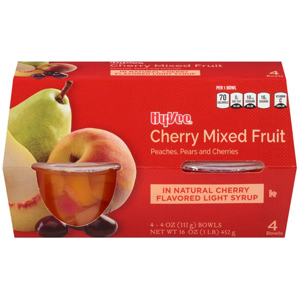 Hy-Vee Light Cherry Mixed Fruit In Light Syrup 4 Pack