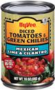 Hy-Vee Mexican Lime & Cilantro Diced Tomatoes & Green Chilies