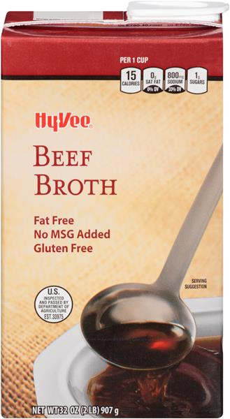 Hy-Vee Beef Broth Fat Free No MSG Gluten Free
