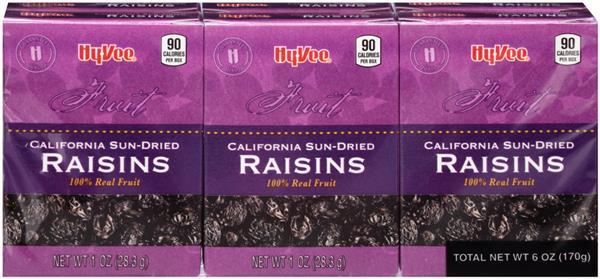 Hy-Vee Raisins California Sun-Dried 6Ct