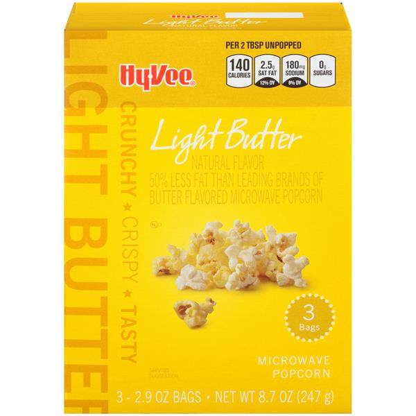 Hy-Vee Light Butter Microwave Popcorn 3Ct | Hy-Vee Aisles