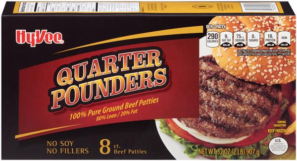 Hy-Vee Quarter Pounders 100% Pure Ground Beef Patties 80% Lean 20% Fat 8 Patties