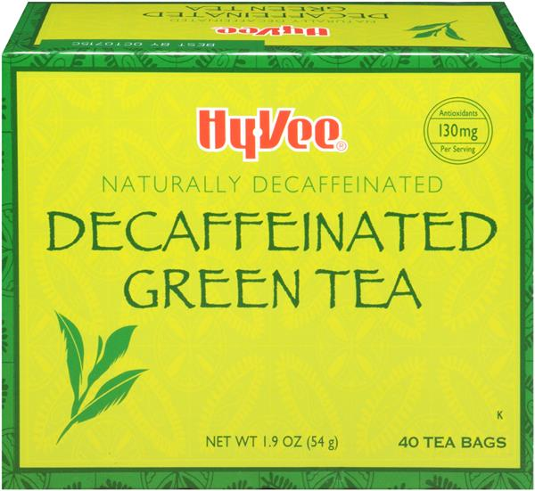 Hy-Vee Green Tea Naturally Decaffeinated Tea Bags 40 Count