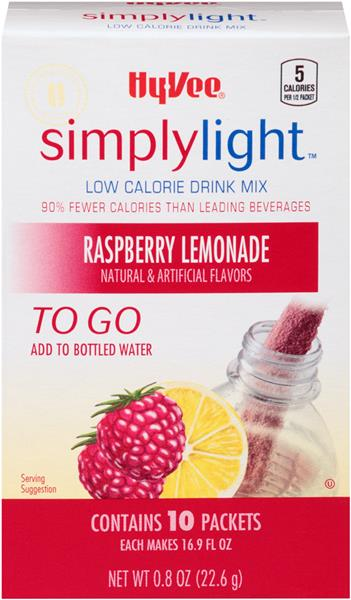 Hy-Vee Simply Light Raspberry Lemonade To Go Drink Mix 10Ct