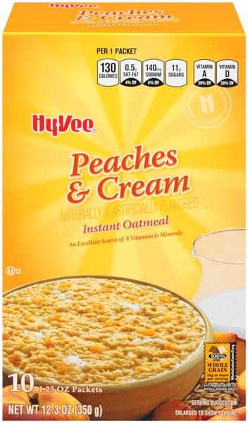 Hy-Vee Peaches & Cream Instant Oatmeal 10 Count