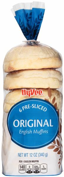 Hy-Vee Pre-Sliced Original English Muffins - 6 Muffins