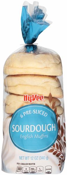 Hy-Vee Pre-Sliced Sourdough English Muffins 6 ct Bag