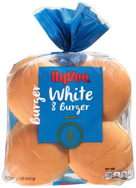 Hy-Vee White Hamburger Buns 8 Count
